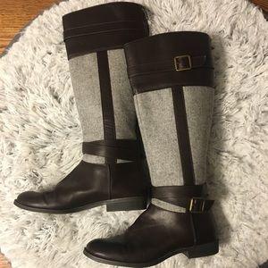 LC Lauren Conrad Dark Brown & Gray Riding Boots